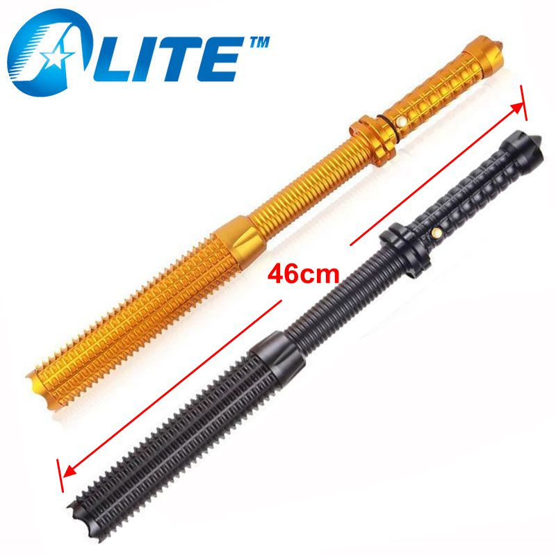 [Free Ship] 10W xml T6 or 5W Q5 led self defense extensible police baton flashlight torch light telescopic for emergency outdoor camping emergency light solar powered led flashlight self defense glare flashlight hammer torch light with power bank