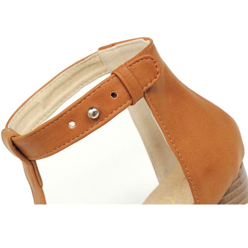 Women's Sandals Summer 2019 European PU T-Strap Women high heels Sandals Shoes for Women Ladies-Shoes Plus Size 40  Black/Brown