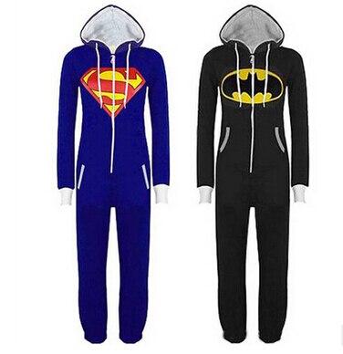 Free shipping New Unisex Pyjamas Adult Pajamas Onesie Mens women Batman Superman one piece pajamas Sleepsuit Sleepwear