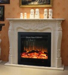 Esculpido lareira de pedra mantel surround além de inserir lareira elétrica fornalha aquecedor do quarto decor artificial chama óptica