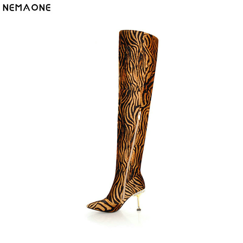 NEMAONE New leopard women high heels over the knee high boots winter warm dancing shoes woman ladies party dress shoes size 43 цена