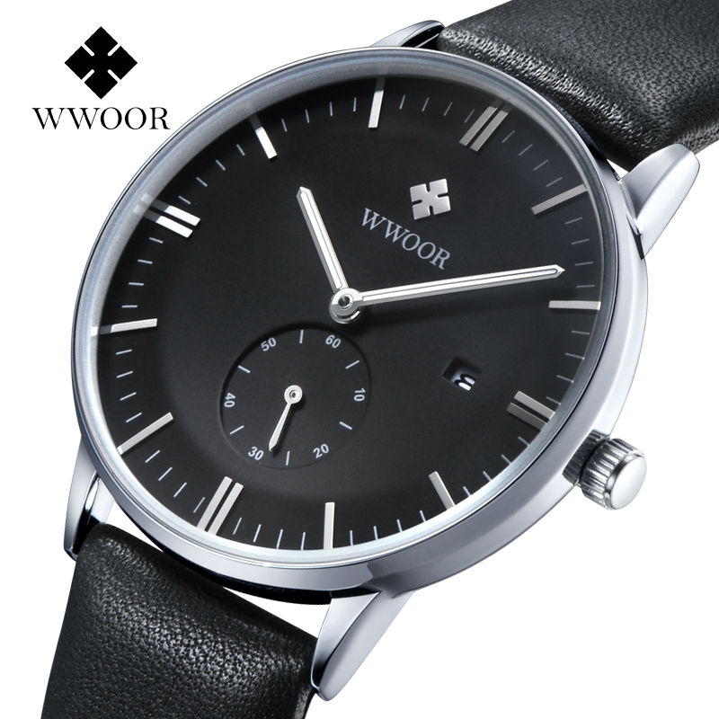 2017 WWOOR Mens Watches Top Brand Luxury Watch Men Leather Strap Casual Quartz Watch Sport Military Clock Male Relogio Masculino relogio masculino wwoor brand calendar mens quartz watch men casual sports watches male clock luxury stainless steel wrist watch