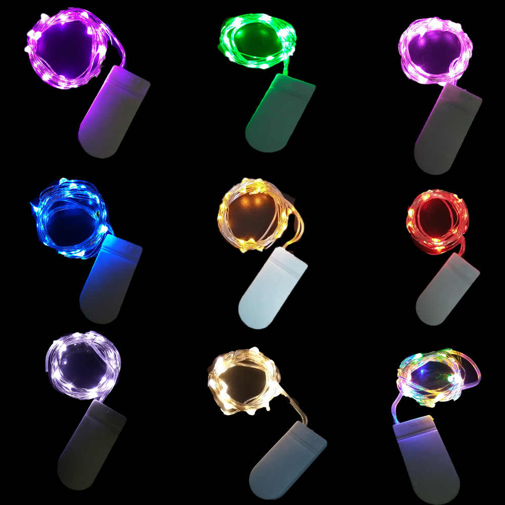 Tahan Air Peri Lampu CR2032 Baterai LED Mini Lampu Natal, Perak String Lentera Pernikahan Karangan Bunga Pernikahan Pesta