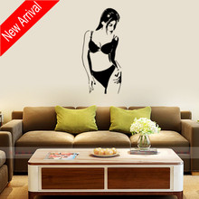 Beautiful Bikini Girl Wall Stickers Mural Beauty Salon Bedroom Decor Easy Removable Poster