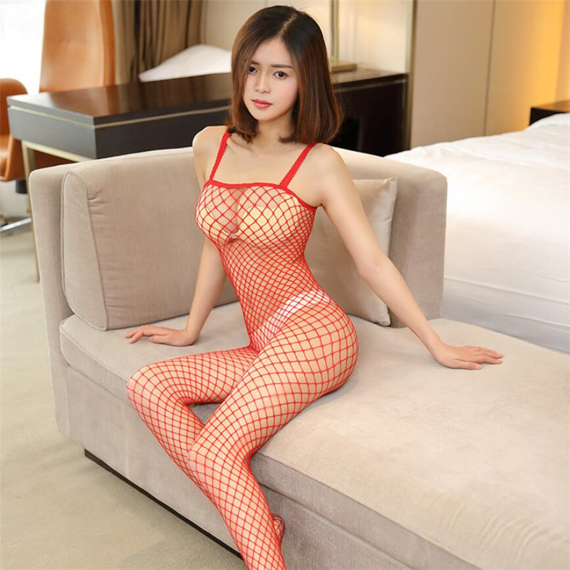 Porno Lingerie Sexy Hot Erotic Fishnet Tights Sling Open Crotch Body Stockings Sheer Mesh Perspective Underwear image