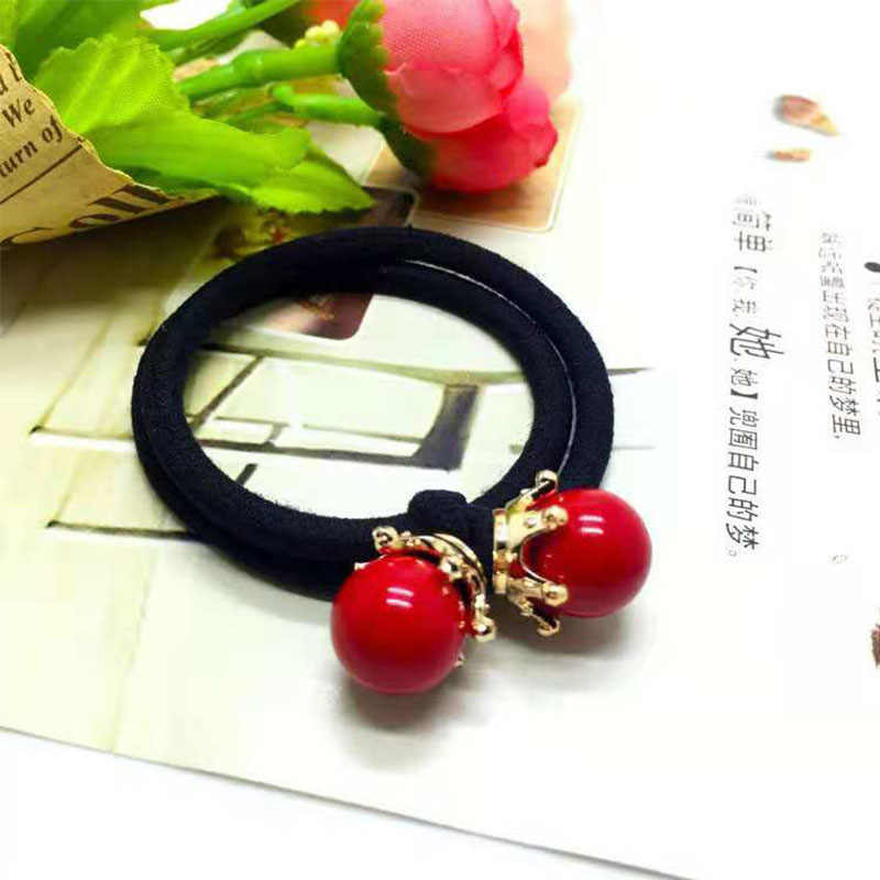 Korean version of the new head rope, high elastic rubber band leather cover, big red bead hair ring, girl hair accessories
