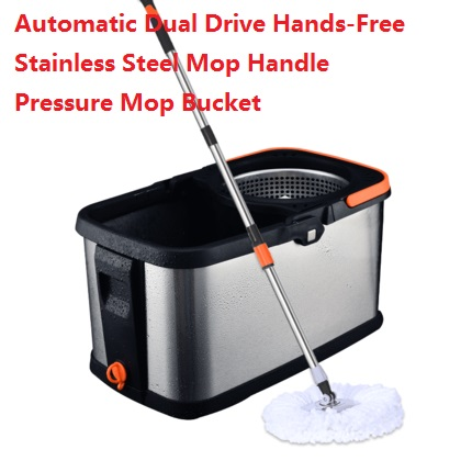 Mop Swivel Household Automatic Dual Drive Hands-Free Stainless Steel Handle Pressure Bucket