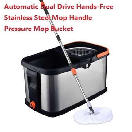 Vadrouille pivotante ménage automatique double entraînement mains libres en acier inoxydable vadrouille poignée pression vadrouille seau