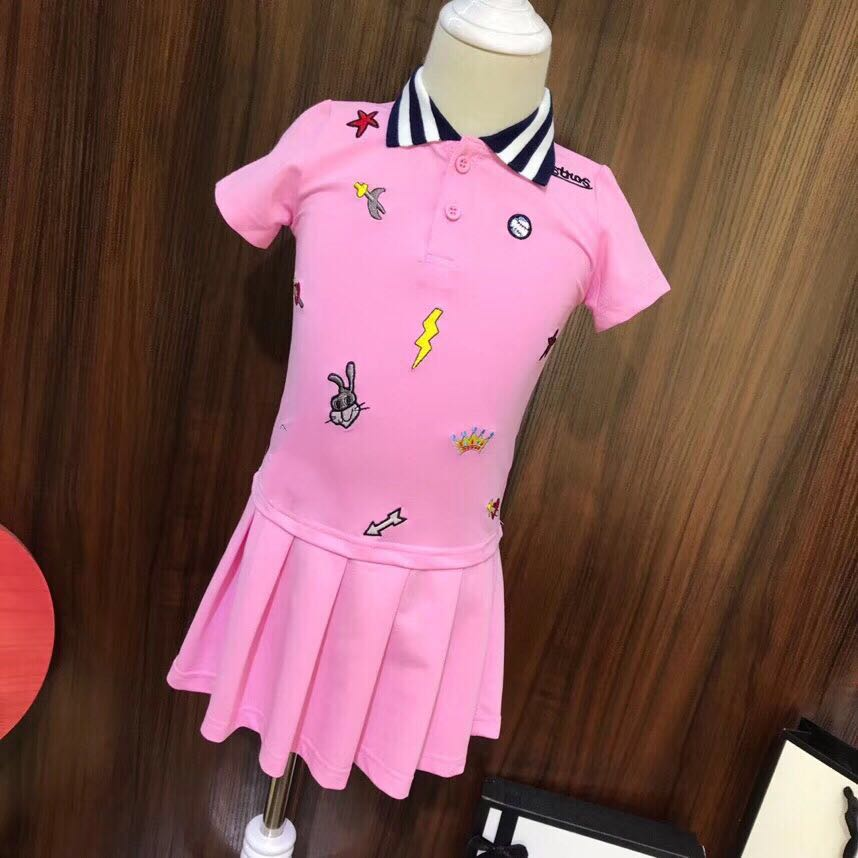 2019 Fashion Summer Girl Party Dress Pink Princess Dress High grade Children Embroidery Dresses for Girl clothing