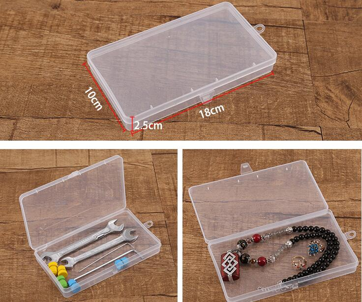 Freeshipping 18*10*2.5cm New Plastic Transparent With Lid Collection Container Case Storage Box