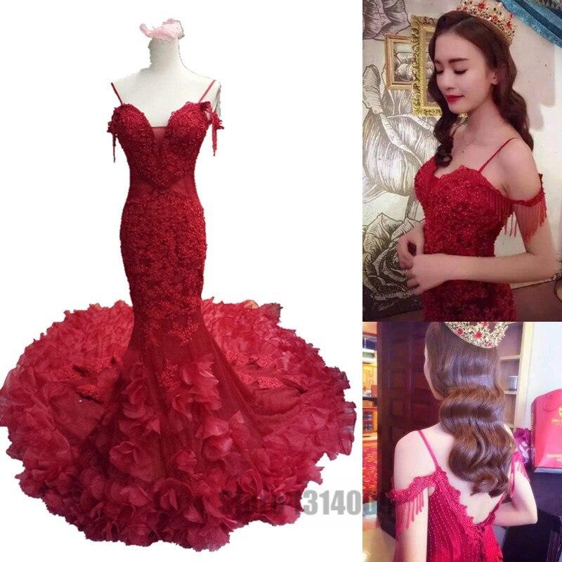 vestidos de novia 2017 correas de espagueti del cordón rojo del