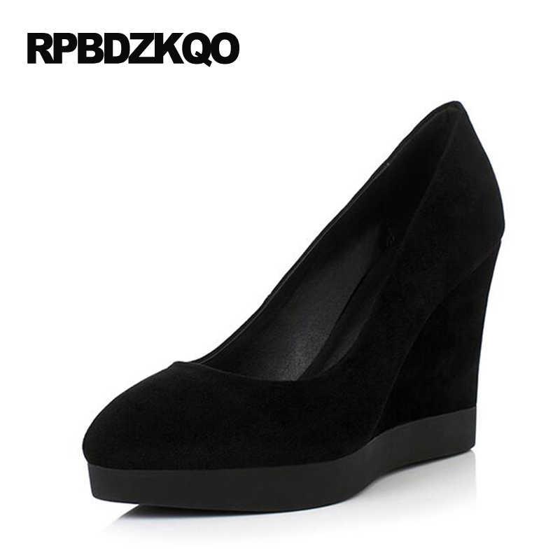 cbf1e413a Белые туфли на танкетке маленькие размеры натуральная кожа женские черные  модные 4 34 высокий каблук туфли