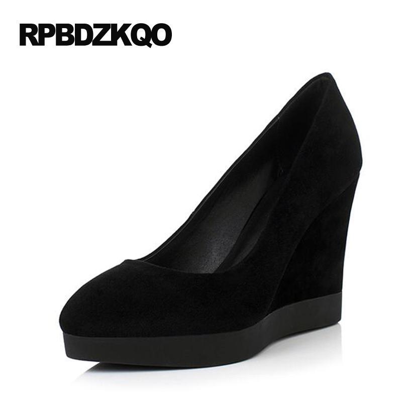 White Wedge Shoes Small Size Genuine Leather Ladies Black Fashion 4 34 High Heels Pumps Slip On Pointed Toe Suede 2017 Spring