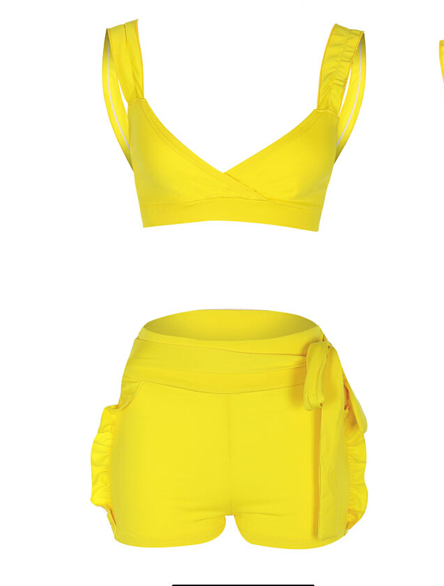 Fashion Casual Summer 2Pcs Set Women's Sleeveless Ruffled Crop Tops Solid Short Sexy Ladies Club Party Clothes