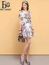 купить Baogarret Fashion Designer Summer Vintage Dress Women's Sexy Ruffles Bow Tie Backless Floral Printed Elegant Short Dresses дешево