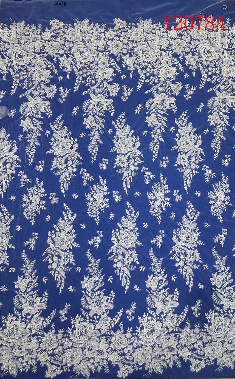 Tissu de robe de mariée en dentelle de broderie perlée chaude, Textile nigérian dentelle de coupe africaine 5 Yards/lot