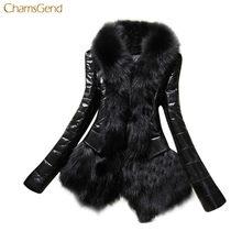fbfd6fec CHAMSGEND Женское пальто из искусственной кожи женское пальто из  искусственного меха Outewar 2018 зимнее пальто длинная куртка с.