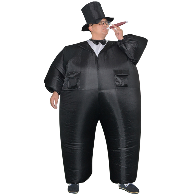 Inflatable Black Tuxedo Suit Fat Gentleman Chub Fancy Dress Fun Toy Halloween Carnival Cosplay Costumes for Women Man Adult