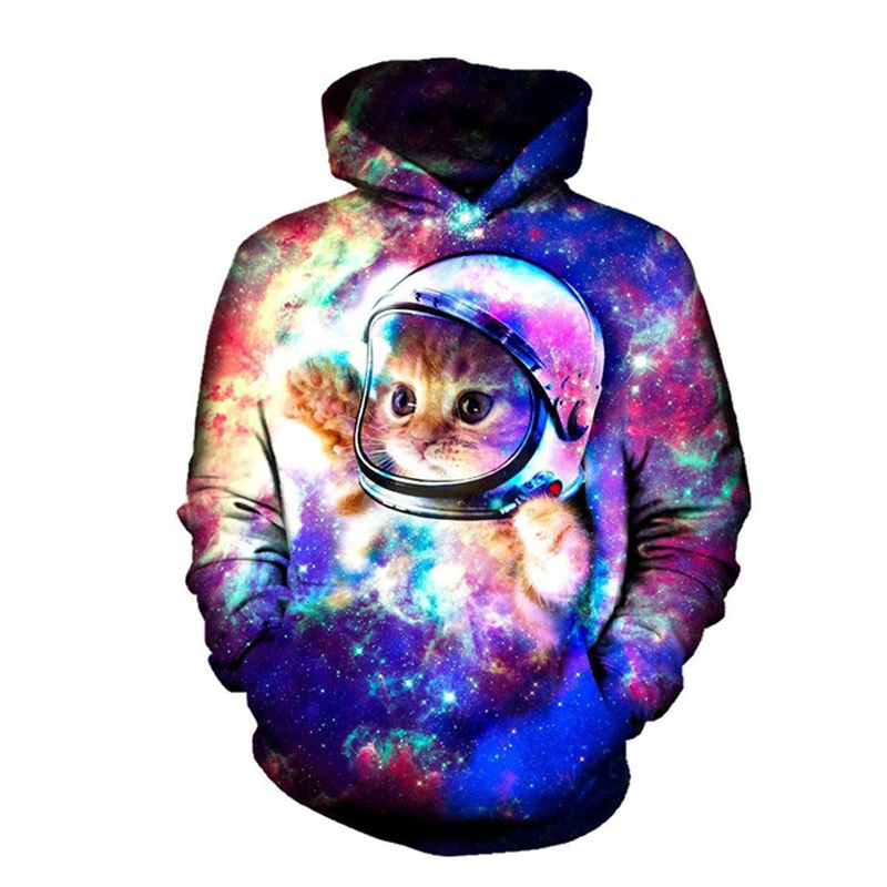 Cute Yinyang Cat 3D Galaxy Cats Sweatshirt Cool Wolf//Lions//Tiger Pullovers