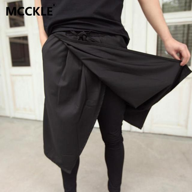Mcckle la nueva manera fresca mens gothic punk style pantalones negro Club Wear Vestido Flaco Falda Pantalones Pantalones de Imitación 2 Unidades AY560
