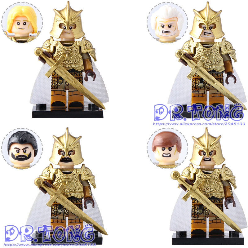 DR.TONG Game of Thrones MOC Ice and Fire Gold Lacquer Series Jaime Lannister Barristan Selmy Meryn Building Blocks Bricks Toys fire maple sw28888 outdoor tactical motorcycling wild game abs helmet khaki