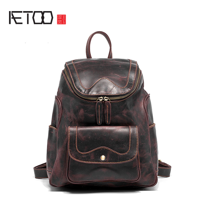 AETOO The first layer of leather portable leather handbag retro casual fashion small backpack shoulder bag female retro trend o aetoo the new first layer of leather handbags leather lingge shoulder bag retro cowardly messenger bag female small square bag