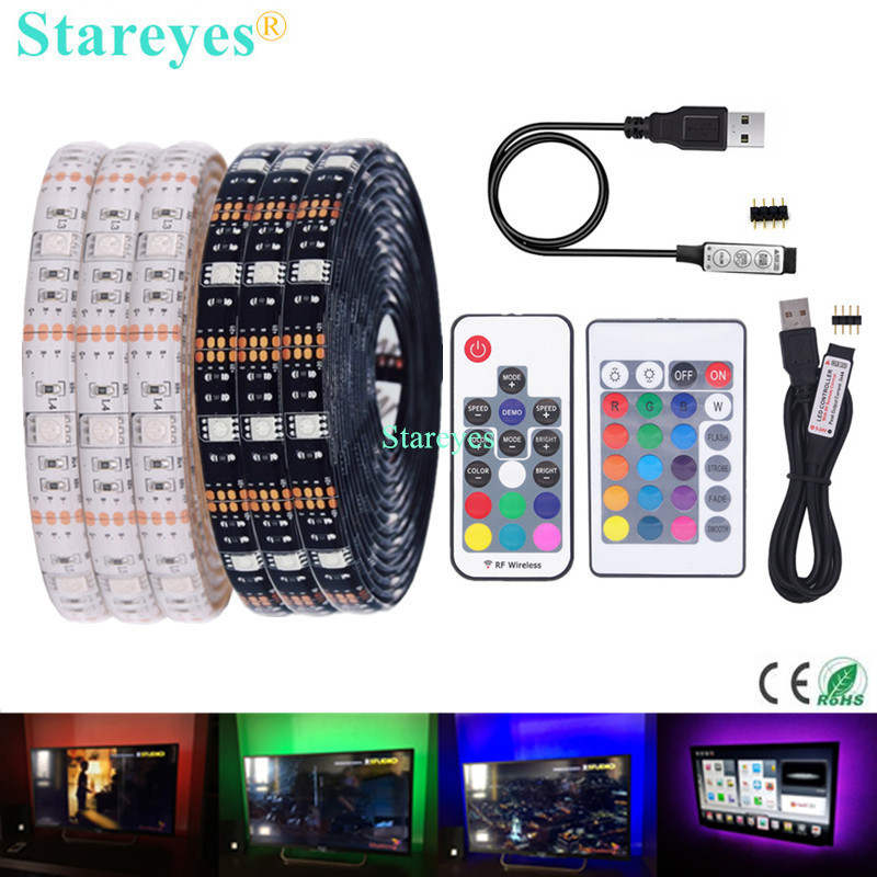 SMD 5050 RGB LED Strip DC 5V USB LED Light Strips Flexible IP20 IP65 Waterproof Tape 1M 2M 3M 4M 5M Add Remote For TV Background