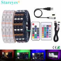 SMD 5050 RGB tira de LED DC 5 V USB tiras de luz LED flexibles IP20 IP65 impermeable cinta 1 m 2 m 3 M 4 m 5 M agregar control remoto para TV de fondo