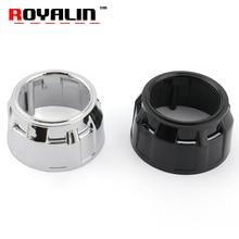 ROYALIN Car Styling 2.5 inch Headlights Lens Heatproof Cover Black Gatling Gun Shrouds Bi Xenon Projector Auto Headlamp Masks