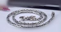 925 thai argent à longue chaîne collier fait main Chinois dragon long lien croix chaîne modèle de peau de poisson collier 47 à 55 cm (HY)