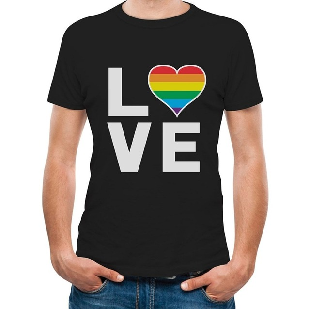 452d99142 2018 Hot Venda Nova Camiseta Gay Do Arco Íris do Amor Do Coração Gay ...