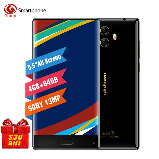 Ulefone Mix MT6750T Octa Core Cell Phone 5.5 Inch Android 7.0 Smartphone 4GB RAM 64GB ROM Dual Back Camera 4G LTE Mobile Phone