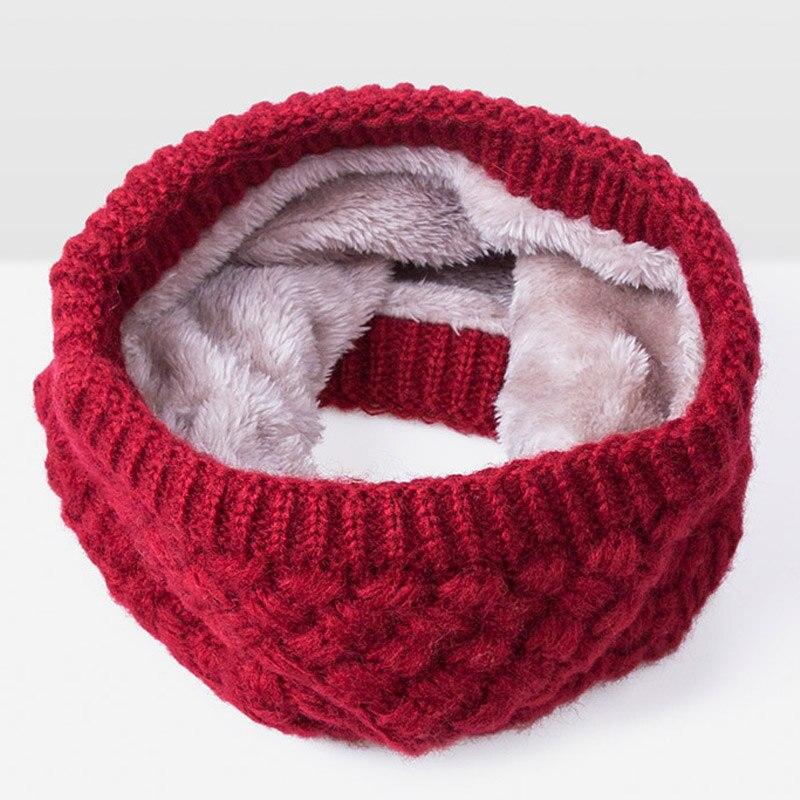Зимний теплый шарф вельветовый хлопковый шарф на шею для мальчиков и девочек удобный для мужчин и женщин - Цвет: Red A