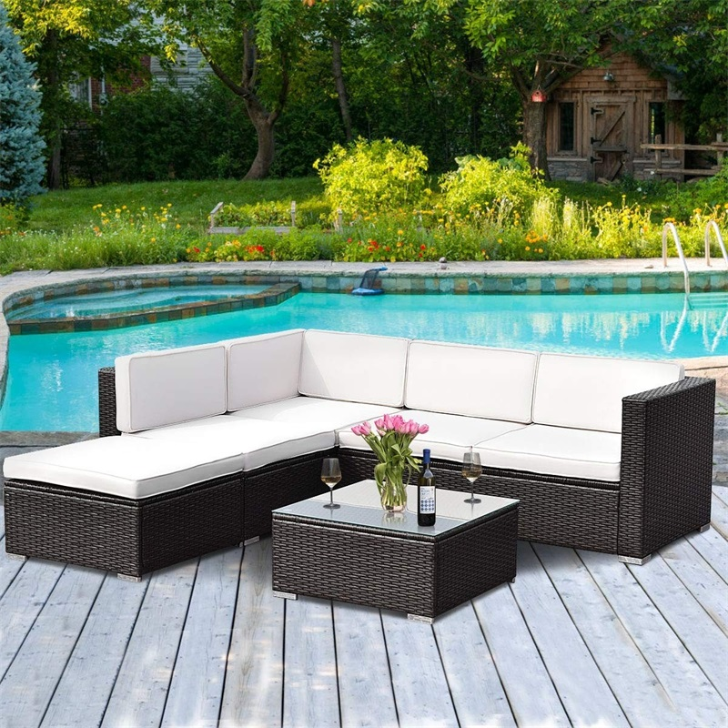 4 pcs Patio Rattan Cushioned Outdoor Rattan Wicker Chaise Lounge Love Seat Steel Tube Construction Water Resistant Beach Chairs