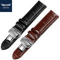 JEAYOU Leather Watchband Strap For Men 20mm 22mm For Casio With Silver Buckle Black Brown