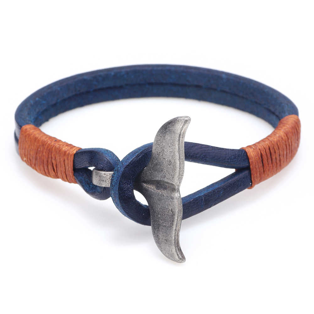 Bransoletka męskie skórzane fishtail hak bransoletka popularne biżuteria urok skóra akcesoria ze stopu klamra para moda bransoletka