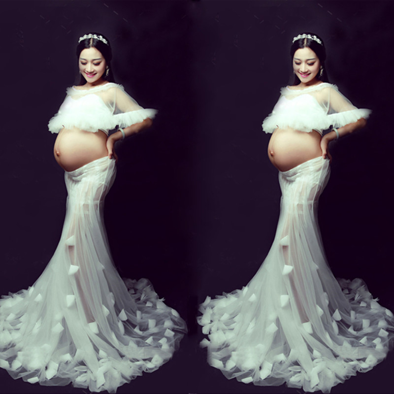 White Matenity Gown Photo Shoot Dresses Angel Feeling Maternity Photography Clothing Floor Length Maxi Dress See Through