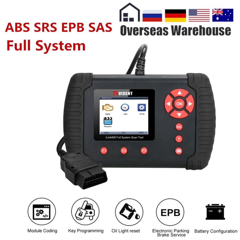 Vident iLink400 Système Complet Outil De Diagnostic Scanner 12 V OBDII ABS SRS EPB Transmission DPF Réinitialiser TPS Mieux Que NT510 mise à jour