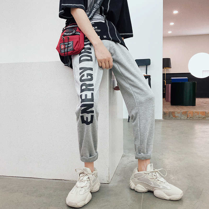 2018 Early Autumn Men's Fashion Tide Letters Printing Pattern Ankle-Length Pants Elastic Waist Blavk/Grey Color Trousers M-2XL