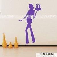 セクシー な女の子壁ステッカー パブ バー ファッション ガール壁デ カール女の子保持ドリンク コーヒー ショップ レストラン ウォールステッカールーム の インテリ