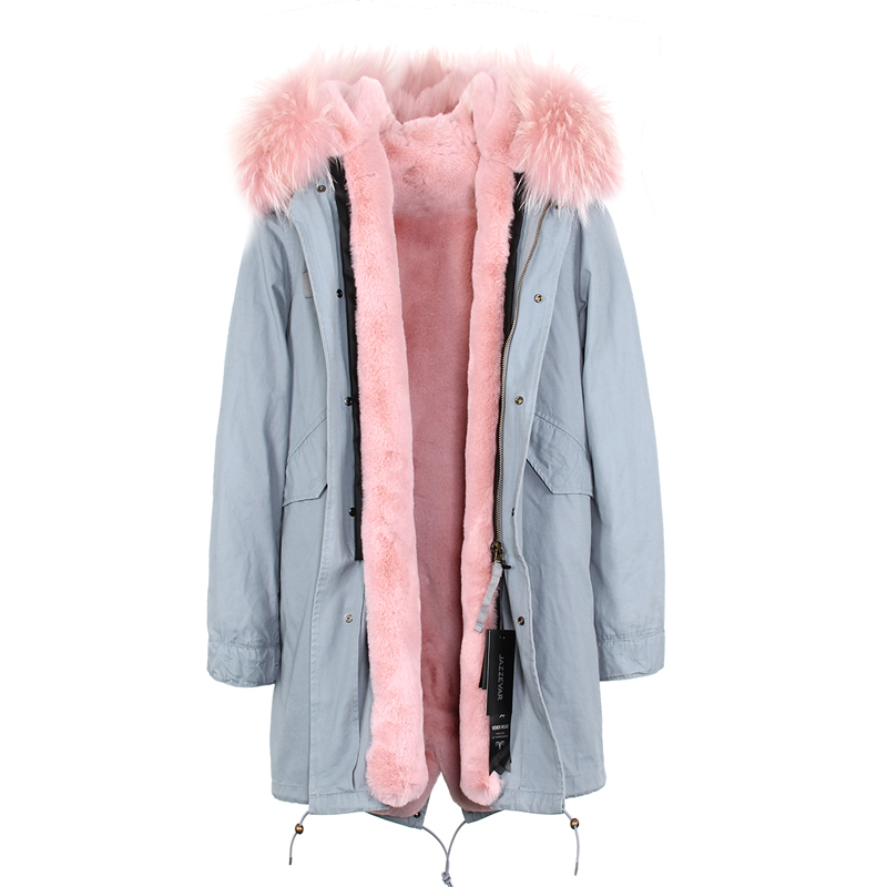 Jott New 2017 Fashion Winter Woman Large Raccoon Fur Collar Parka Midi Hooded Coat Outwear Split Oversize Military Long Jacket new 2017 jott jacket winter women parka long coat large real raccoon fur collar faux rabbit fur liner army green casual outwear