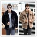 Новый 2015 зимняя мода мужчины искусственного меха куртка Мягкие и удобные теплые меха кролика отложным Воротником сплошной цвет шуба