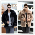 New 2015 winter fashion men faux fur jacket Soft and comfortable warm rabbit fur Turn-down Collar solid color  fur coat