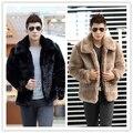 Nuevo 2015 de la moda de invierno los hombres chaqueta de piel sintética Suave y cómodo de piel de conejo caliente Da Vuelta-abajo de color sólido abrigo de piel
