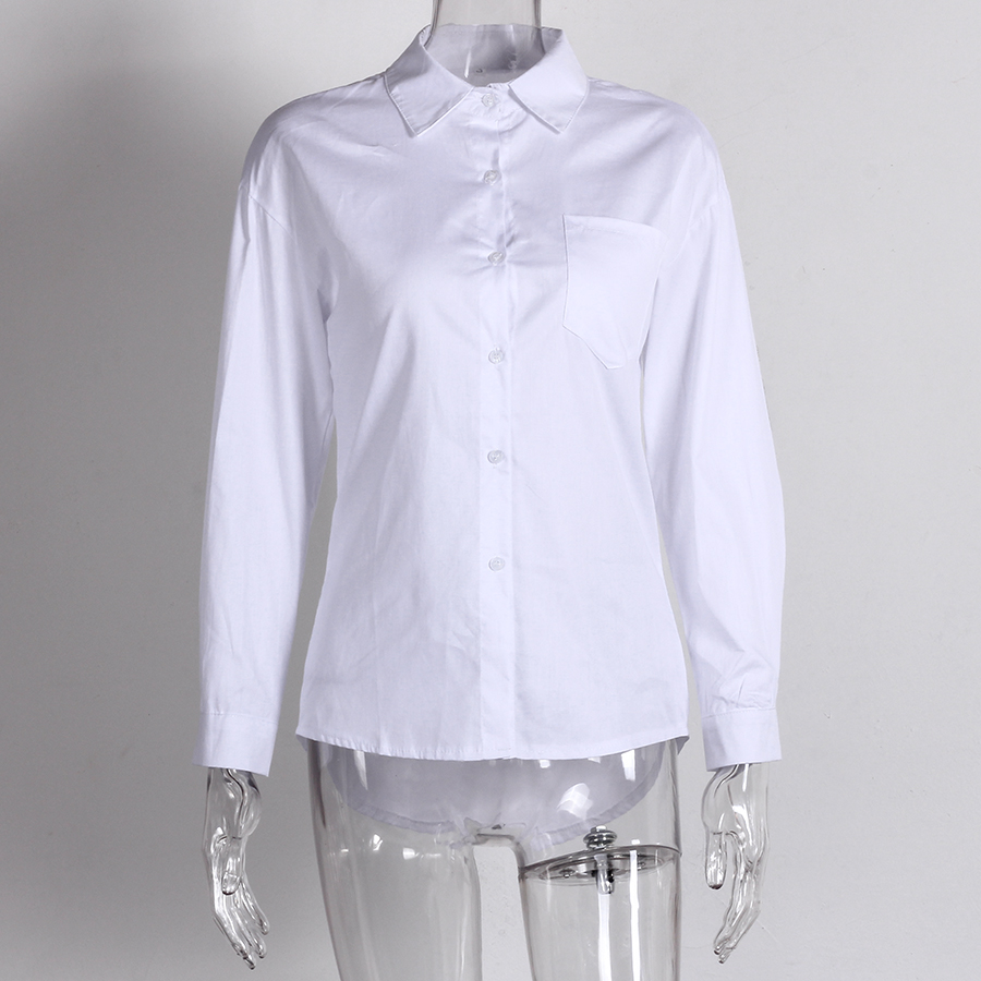 Casual Loose Women Shirts 2019 Autumn New Fashion Collar Plus Size Blouse Long Sleeve Buttons White