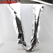 Zobairou/ г.; модные серебристые кожаные облегающие высокие сапоги с металлическими вставками; непромокаемые сапоги выше колена; пикантная женская обувь на высоком каблуке