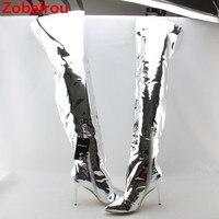 Zobairou 2018 серебряное зеркало кожа облегающие металлические Сапоги выше колена непромокаемые сапоги пикантные Обувь на высоком каблуке Дамск