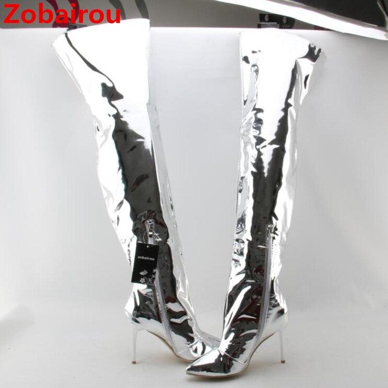 Zobairou 2018 fashion silver mirror leather thigh high metallic boots overknee rain boots sexy high heels ladies shoes woman