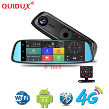 Discount! QUIDUX New 8″ 4G Touch Special Car DVR Camera Mirror GPS Bluetooth Android 5.1 Dual Lens Full HD 1080p Video Recorder Dash Cam