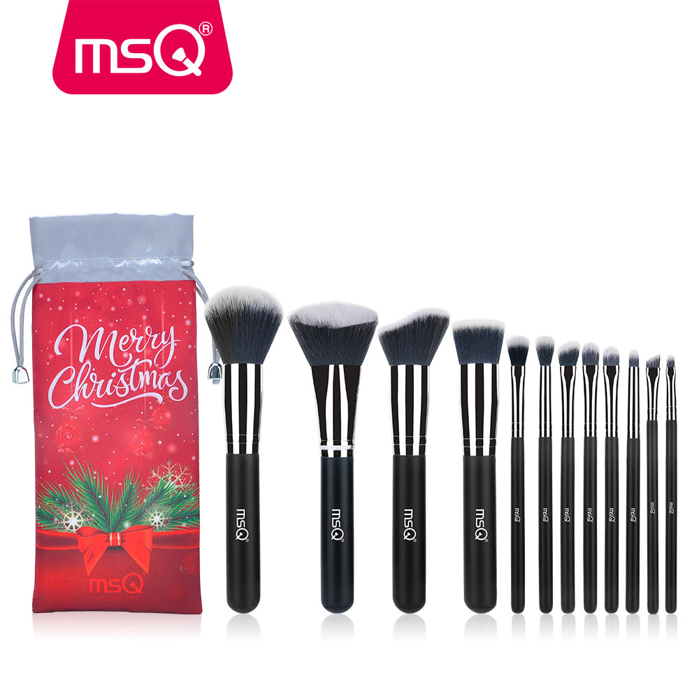 MSQ Professional 12pcs Makeup Brush Set Powder Contour Eyeshadow Makeup Tools Special Hair Shape With Christmas Bag